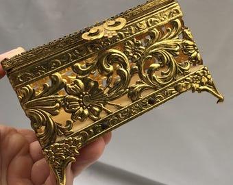 Mid century jewelry casket. Brass and glass trinket box. Hollywood Regency. Brass filigree box. Ornate brass jewelry casket.