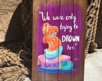 Mermaid Lagoon Upcycled Sign Painting on Wood, and Postcards