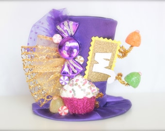 Willy Wonka Inspired Charlie and the Chocolate Factory Golden TIcket - Mini Top Hat Headband - Perfect Candyland Birthday Photography Prop