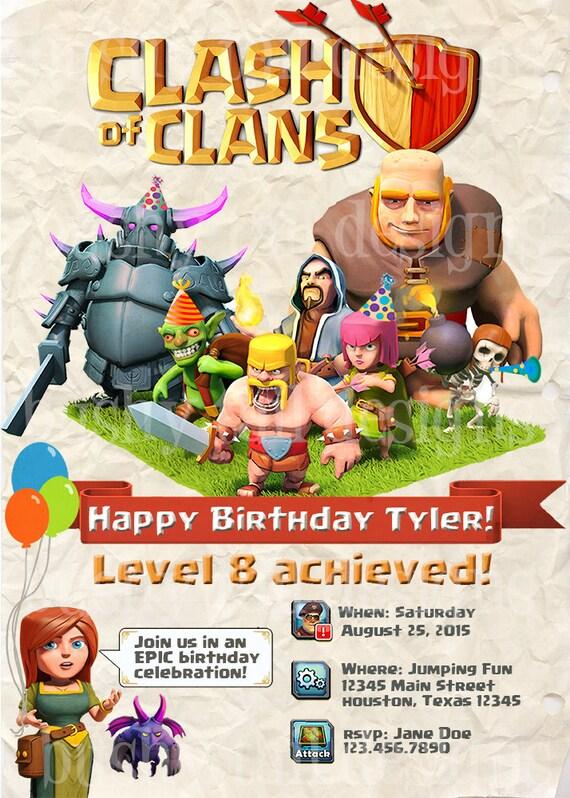 Clash of Clans Birthday Invitations