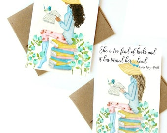 Watercolor girl reading. Can be customized.