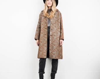 STUNNING Vintage Silver and Bronze Brocade Floral Coat / S / hipster jacket coat womens outerwear overcoat oversized coat