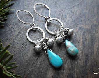 Teardrop Turquoise Earrings, Bohemian Fringe Dangles, Beaded Boho Jewelry - Cheyenne