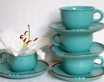Dansk Mesa Turquoise Cup and Saucer 1980's Modern Southwestern Stoneware Japan
