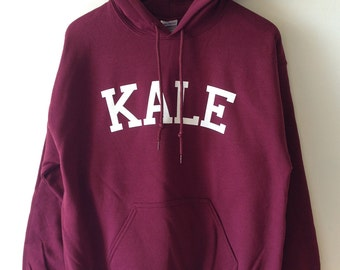 KALE Hoodie Sweat- High Quality SCREEN PRINT for Retail Quality Print Super Soft fleece lined unisex Ladies Sizes Worldwide Shipping S-2xl