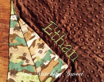 Camo Personalized Baby Minky Blanket, Minky Blanket, Camo Baby Blanket, Personalized Baby Blanket , Minky Baby Blanket