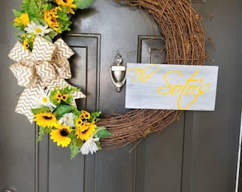 "Grapevine ""The Johnson"" sunflower wreath"