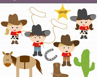 Cowboy Kids Digital Art Set Clipart Commercial Use Clip Art INSTANT Download Cowboy Clipart Western Clipart Cowgirl Clipart