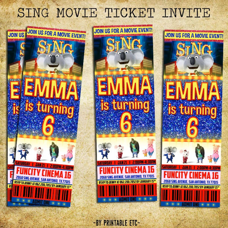 Sing Invitation Sing Movie Birthday Ticket Party Invite