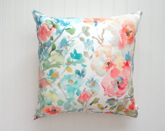 Garden Fleurs No2 Pillow Cover, Watercolor Floral Pillow Covers, Designer Fabric, 18x18, 20x20 or Lumbar Sizes