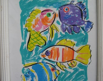 Vintage 90's SALLY HUSS Animated & Framed Happy Nature Serigraph Featuring Swimming Fishes