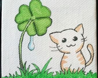 Mini deco frame - kitten in clover