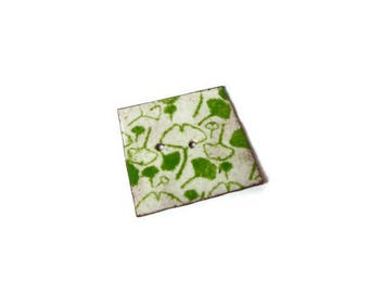 copper enamel square button ginkgo biloba green and white