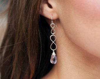 Silver Infinity Earrings, Gemstone earrings, custom color, Infinity jewelry, birthstone earrings, Long earrings, sterling silver earrings