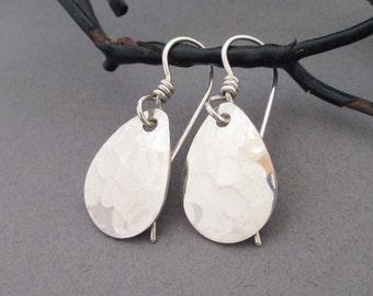 Hammered Sterling Silver Earrings Silver Teardrop Earrings Handmade Modern Metal Simple Everyday Minimalist Jewelry Dangle Drop Earrings