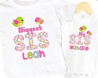 Biggest Sister Birdie Shirt SET Big Sister Pink Sibling Personalized Big Sister Shirts bodysuit SET