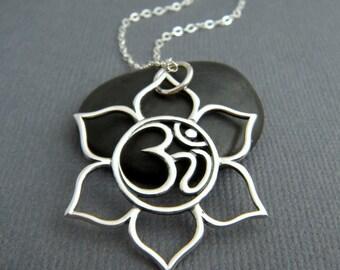 "large lotus flower om necklace. sterling silver yoga pendant. eastern flower. ohm zen yogi jewelry. simple boho bohemian charm. gift 1 1/8"""