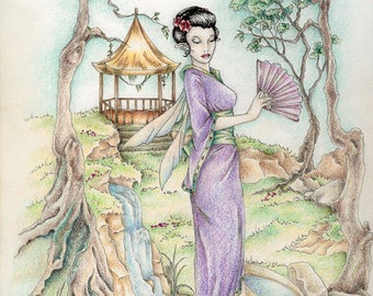 Pagoda Spring- giclee print of a fairy  in  colored pencil and ink original on high quality fine art paper mpart of the series of seasons #2