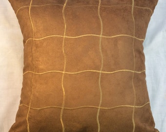 Brown Faux Suede Decorative Pillow, Brown pillow cover, Brown Throw Pillow, Gold trim, Pillow Cover, Gift for her, Furnishing,Accent Pillow