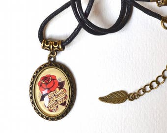 Necklace - Vintage Tattoo - Choker - Cabochon - Pendant - Red Rose - Handmade