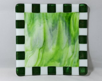 Fused Glass Plate of Green Swirls with Adventurine Green and White Ruffled Edges