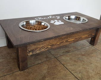dog pin personalized wooden feeder elevated pet stand bowl custom pallet feeders