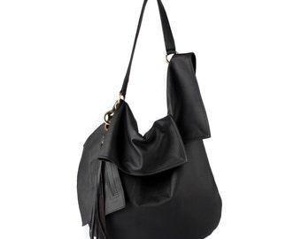 Black leather hobo bag in natural leather - black leather tote bag, slouchy black bag, soft bag