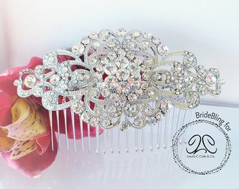 Franni- Bridal hair comb, large bridal hair comb, wedding hair comb, wedding comb, bridal comb, rhinestone bridal comb, crystal bridal comb