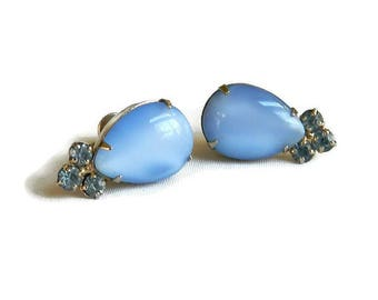 Vintage Givre Blue Glass and Rhinestones Earrings