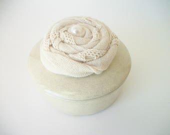 Burlap Ring Box, Free Shipping, Alternative Ring Bearer Pillow, Ring Dish, Burlap Flower, Ceramic, Jewelry Dish, Wedding Ring Box