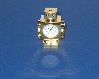 Small Gold Colored Desktop Robot Clock - Non-Working