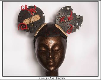 Fixer Upper.... Medical Fetish Themed Mouse Ears With Blood and Bandaids and Aged Gold Grommets