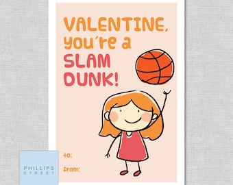 printed BASKETBALL GIRL valentine's day cards . kids Valentines cards . children's classroom valentines . customizable