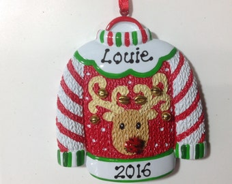 Personalized Christmas Ornament Ugly Sweater Gift for Grandpa- Dad, Boss, Friends, Teacher, CO-workers- Free Personalization