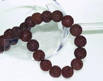 UNIQUE Brown Lava Beads  Strand