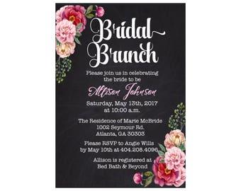 Floral Chalkboard Bridal Brunch or Shower Invitation Printable, Wedding Shower, Brunch Invitation Printable, DIY