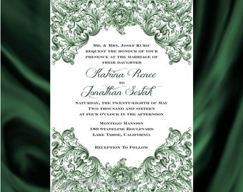 Victorian Wedding Invitation & RSVP  Vintage Wedding Invitation - Price Includes Matching Envelopes and Printed Return Address - Design 34