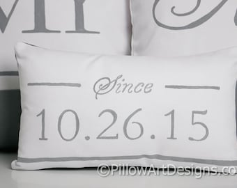 Wedding Date Pillow Personalized Pillow Numbers Grey and White 8 X 12 Handmade in Canada