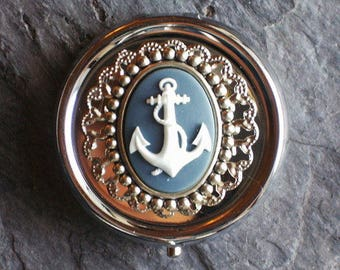 Anchor cameo pill box container, silver pill box, grey cameo pill box, nautical pill box, bridesmaid gift, holiday gift ideas, gifts for her
