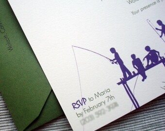 Birthday Party Invitations with Fish and Fishing Theme in Purple and Green - DESIGN FEE