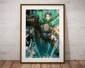 Levi Poster Shingeki no Kyojin Poster AoT Print Levi Mikasa Eren Armin Anime Watercolor Art Print, Anime Poster Watercolor Wall Art n334