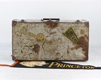 Metal Suitcase With College Stickers, Vintage Suitcase With College Stickers, Old Metal Suitcase, Vintage Luggage, Univ Of Iowa, Valparaiso