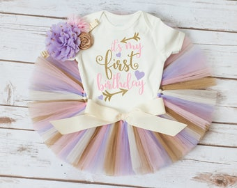 Pink purple and gold tutu 'Selah Gold' It's my first birthday outfit, it's my birthday outfit, first birthday outfit girl pink and gold tutu
