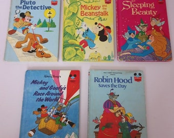 Lot of 5 Vintage Wonderful World Of Disney Childrens Books 1970's 1980's