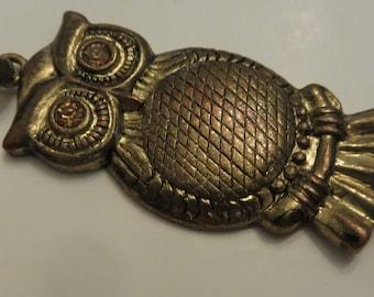 Vintage large heavy brass OWL pendant with topaz rhinestone eyes 23.4g