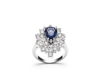 Beatrice Pear Shaped Sapphire and Diamond 18 kt White Gold Ring