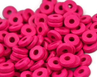 8mm Washer Round - Hot Pink - Mykonos Greek Ceramic Beads - QTY: 50