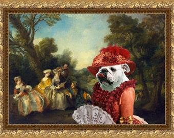 English Bulldog Art Aristocratic Bulldog Print English Bulldog Dog Wall Art Custom Dog Portrait from Photo Bulldog Lover