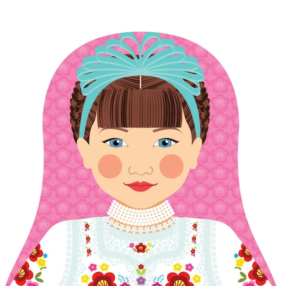 Hungarian Doll Art Print with traditional folk dress, matryoshka