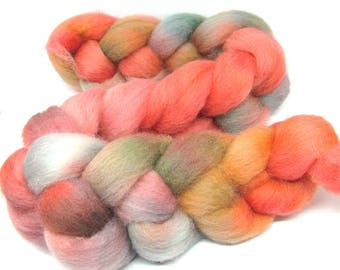 Hand Dyed Texel Wool 100g 3.5oz Combed Wool Top Spinning Yarn Felting Fibre  Tx91